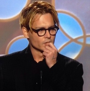 Johnny Depp presenting at the Golden Globes 2014