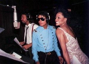 Michael In The Recording Studio With Diana Ross And Barry Gibb