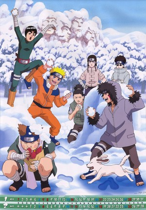 Shikamaru, Choji, Naruto, Lee, Kiba, Shino and Neji