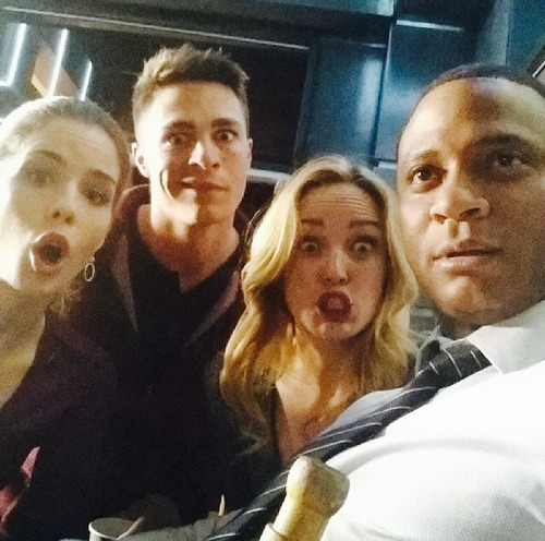 Emily Bett Rickards on Set