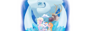 Elsa and Anna with Olaf, Sven and marshmallow