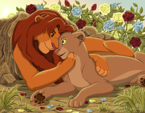 Simba and Nala fã Art