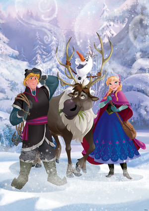 Anna, Kristoff, Olaf and Sven