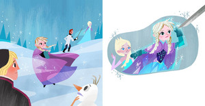 《冰雪奇缘》 - Anna's Act of Love/Elsa's Icy Magic Book Illustrations