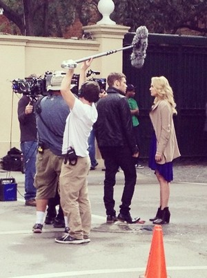 Leah and Joseph on set