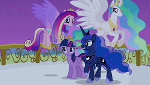 Cadance, Luna, Celestia, and Twilight