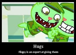 Hugs, Fliqpy is an expert at giving them