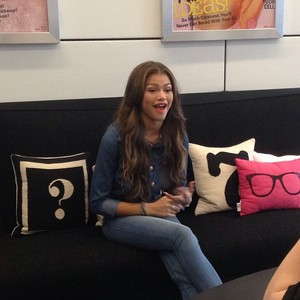 Zendaya snapchatting at the Seventeen Magazine offices in NYC today