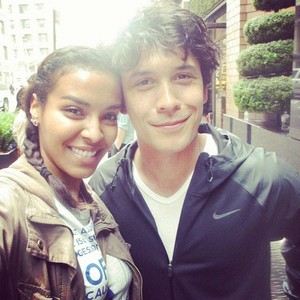 Bob Morley with a fan