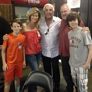 Chandler with family backstage of WWE with Ric Flair