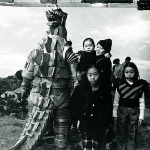 Mechagodzilla plays with kids