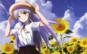 Tenshi with sunflowers