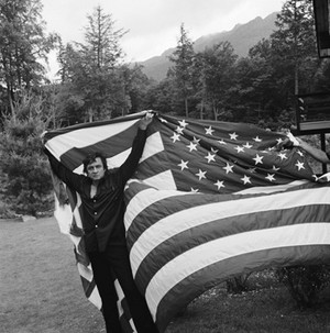 Johnny Cash with the American flag