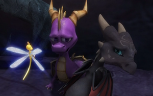 Spyro, Cynder, and Sparx