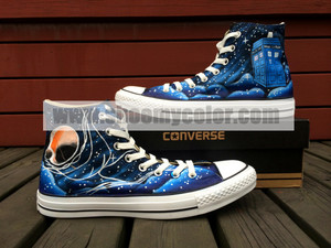 Doctor Who Galaxy Black High bahagian, atas Hand Painted Converse Canvas Shoes