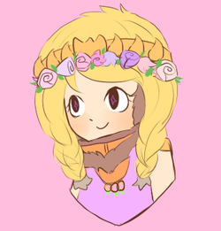 Princess Kenny with a fleur crown.