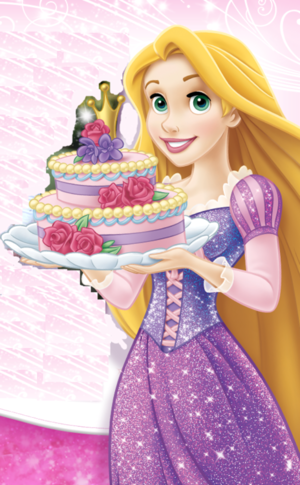 Rapunzel with a cake