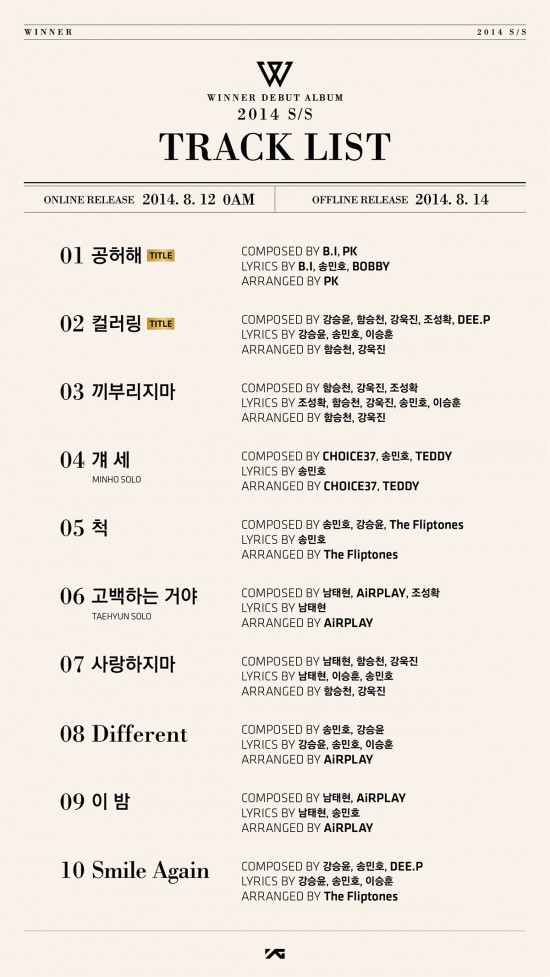 Tracklist for WINNER debut album '2014 S/S'