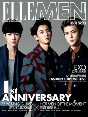 Chanyeol, Lay, and Sehun for the cover for 'ELLE Men'