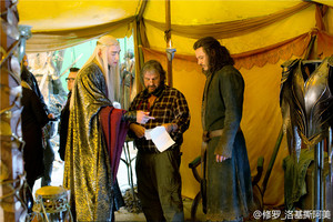Lee Pace (Thranduil), Peter Jackson (director), and Luke Evans (Bard)