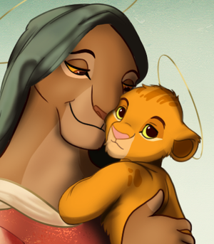 Simba and Sarabi as Mary and Jesus
