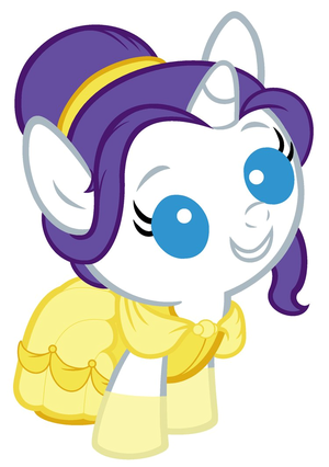 Baby Rarity dressed as Belle