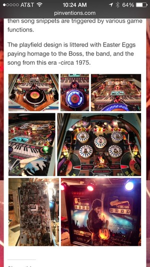 Bruce Springsteen Custom Pinball Machine