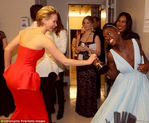 Lupita Nyong'o and Jennifer Lawrence Oscars