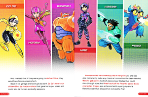 Walt Disney Book Images - Go Go Tomago, Honey Lemon, Baymax, Hiro Hamada, Wasabi & Fred