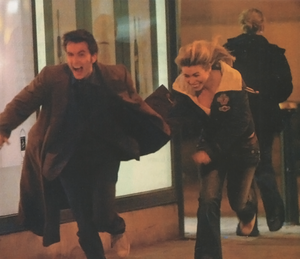 David and Billie on set of Doctor Who