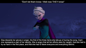 Elsa's face expressions in let it go and what it means