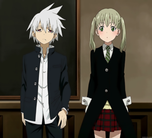 Soul and Maka in Soul Eater Not!