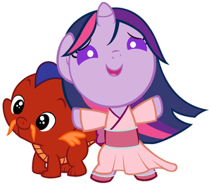 Twilight Sparkle and Spike as ムーラン and Moo Shu