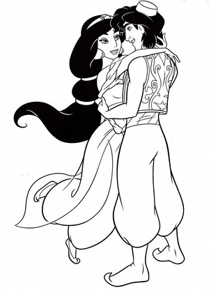 Walt ディズニー Coloring Pages - Princess ジャスミン & Prince アラジン