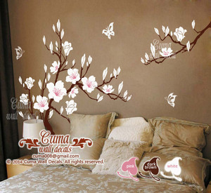 cherry blossom  butterfly wall sticker material vinly wall sticker