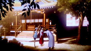 At the Shrine with Okabe, Mayuri, and Ruka