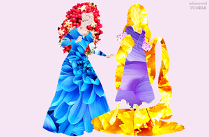 Disney Princess in Flowers