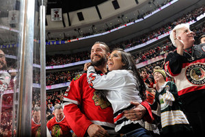 AJ Lee and CM Punk at the Chicago Blackhawks Hockey Game