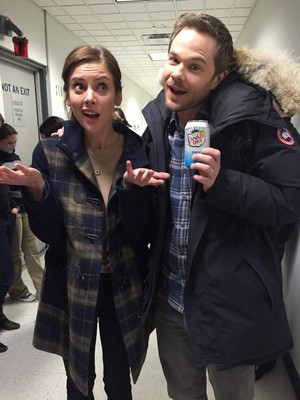 Jessica Stroup and Shawn Ashmore on set of The Following