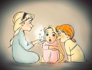 Young Anna, Elsa and Rapunzel