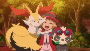 Serena Braixen and Pancham
