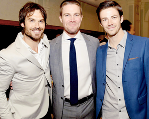 Ian, Stephen Amell and Grant Gustin