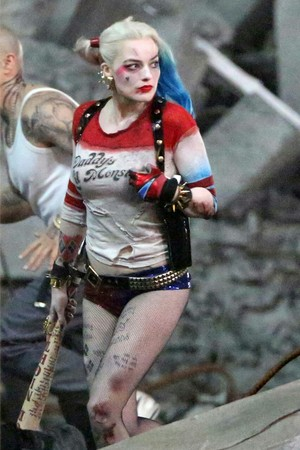Margot Robbie on the set of 'Suicide Squad'