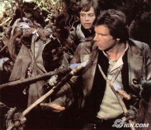 Han Solo and ewoks