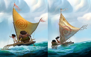 Key differences in Moana concept art – new (left) vs old (right)