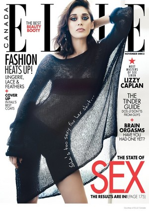 Lizzy Caplan on the cover of Elle Canada - November 2014