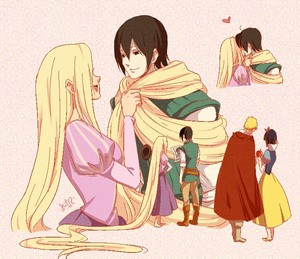 Sai and Ino (with Ichigo and Rukia small below)_Naruto, Bleach _ ディズニー princesse parody (fanart)