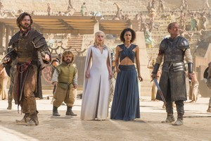dany and jorah with missandei, daario and tyrion