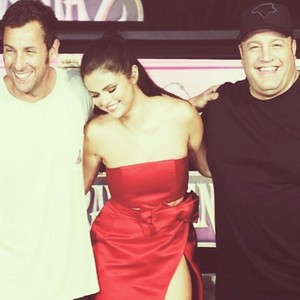 selena with adam sandler and kevin james
