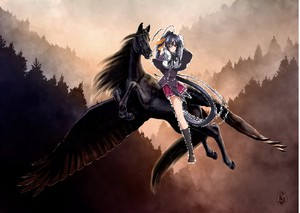 Akeno Himejima riding her new black pegasus